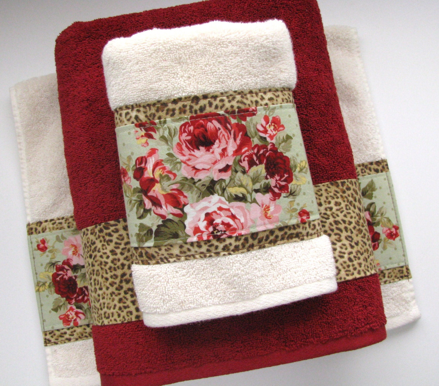 Bath Towels Towel Sets Vintage Rose Leopard Towels Red