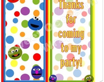 Faux Sesame Street Candy Wrapper, Candy Sleeve Template Several Designs