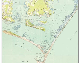 Cape Lookout Map Etsy - North carolina topographic map