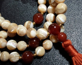 108 ct. Mother of Pearl and Carnelian Mala