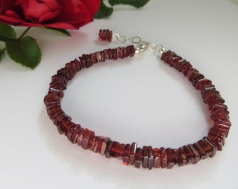 Garnet Bracelet, Friendship Bracelet, January Birthstone Bracelet, Red Semi Precious Gemstone Bracelet, Deep Red Sterling Silver Bracelet