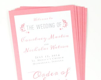 Printed Wedding Program, Modern Floral Wedding Program, Wedding Programs
