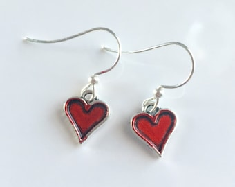 Alcohol ink dyed heart earrings