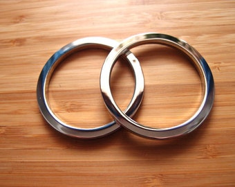 Large Silver Nickel O-Rings - 2 inch / 50mm  - Super Shiny Chunky Bag and Strap Hardware