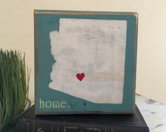 Arizona Home Wood Signs Arizona Love Heart Decor Wood Sign Home Decor Gifts Under 15 Gift Idea Room Decor Gift Idea Wood Block AZ Home Love