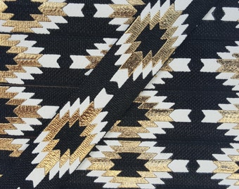 5/8 BLACK Aztec (Repeating Pattern) Fold Over Elastic
