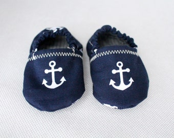 Baby Booties Anchors Navy