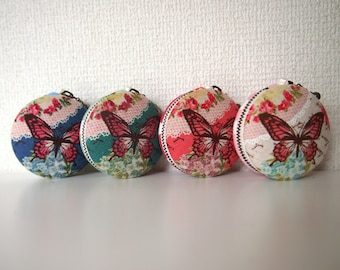 6cm, Macaron Jewelry Pouch/ Macaroon/ Coin Purse - Hearts & Butterfly, Blue/Green/Pink/Red -  Handmade in Japan by Chikaberry