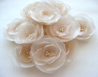 Fabric Flowers,  floral embellishments, flower appliques, Sew on flower, Organza Blossom,  floral supplies, wedding decor, wedding table