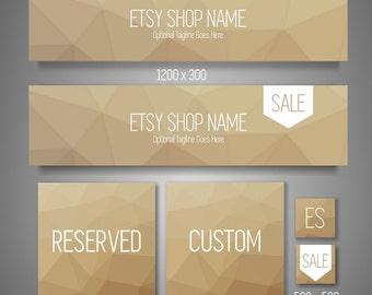 Shop Banner Set | Branding Kit | Branding Package | Set of 6 Graphics, Geometric, Neutral | Business Branding | Shop Banner | Header Design