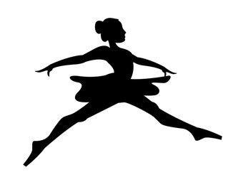 SVG Jumping Ballerina silhouette Cuttable File - INSTANT DOWNLOAD - for use with silhouette cameo, cricut, Sizzix, other machines
