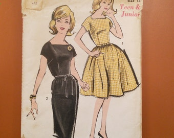 Advance 2848 One-Piece Dress Slim Peg Sheath Full Skirt Vintage Sewing Sew Easy Pattern 1950s 50s Size 13 Junior
