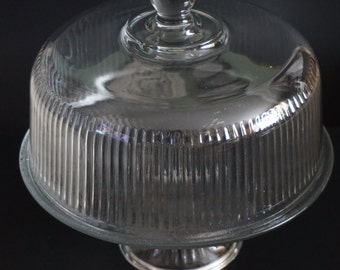 Vintage, Glass Cake Stand with Dome