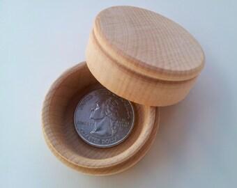 1 Small Pill Box / Unfinished DIY / Treasure Box / Tooth Fairy Box / Round Wooden Box