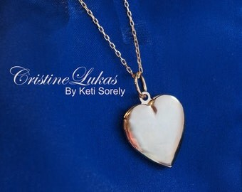 Engravable Golden Heart Locket Necklace - Customize It With Your Photos - Silver, Yellow or Rose Gold Overlay