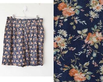 SALE // high waist floral cotton festival short 90s // M-L