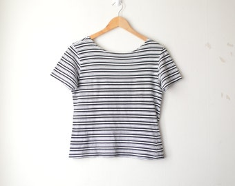 black and white striped tshirt 90s // M