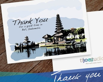 Bali Thank you Greeting Card, Thank you Bali, Indonesia 5x7 card blank inside with white envelope.