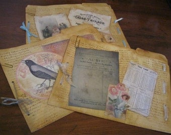 Distressed and Decorated File Folders, Grungy File Folders, Walnut Stained Folders, Stamped and Collaged Folders, Shabby File Folders