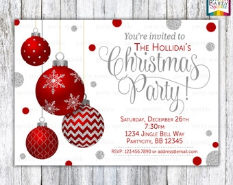 Red and Silver Glitter Baubles / Bulbs - Christmas Party Invitation - Personalized Digital Custom Invite 4x6 or 5x7 jpg or pdf