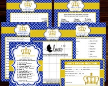 Royal Prince Baby Shower Party Games, Games, Baby Shower Favors, Instant Download  - Digital File