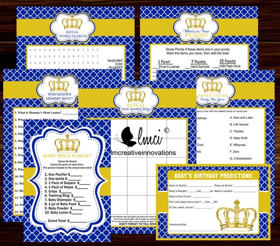 Royal Prince Baby Shower Party Games Games Baby Shower