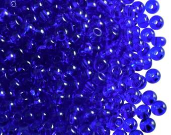 20gr 6/0 Preciosa Czech Glass Seed Beads Dark Sapphire Transparent (6SB033)