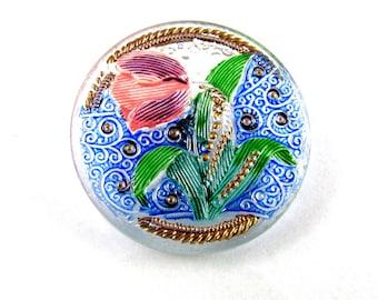 1pc Hand Made Art Czech Glass Button 33mm  Size: 14, Tulip (BUT224/14)