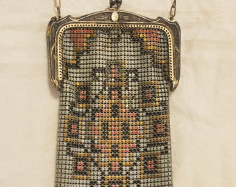 Vintage Antique Whiting And Davis Mesh Art Deco Style Bag