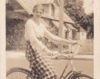 Mad Young Girl On Bicycle Vintage Photo Snapshot