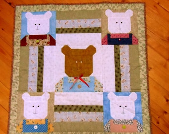 Lots of Bears : 100% Hand sewn quilted wall hanging