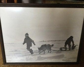 Large Vintage Signed Original Eskimo Inuit Dog Sled Photograph