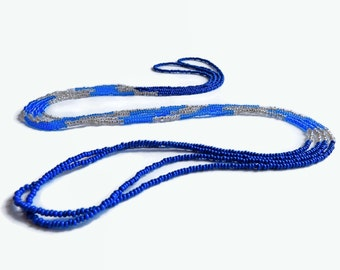 Long seed bead necklace blue color block,blue and silver layer necklace, seed bead wrap necklace blue