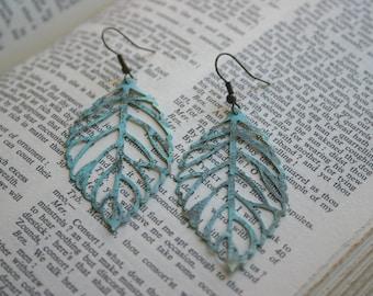 SALE  Lace Leaf Filigree, Aqua Blue Patina Earrings