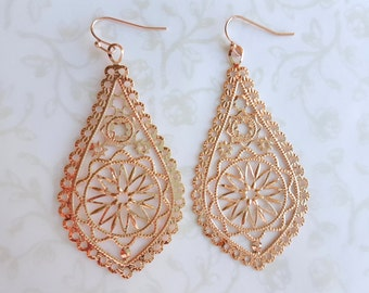 SALE Lg. Rose Gold Filigree Tear Drop Lace Earrings, Lightweight Romantic Wedding Bridal Jewelry, Boho Earrings, Bridesmaid Gift, Copper