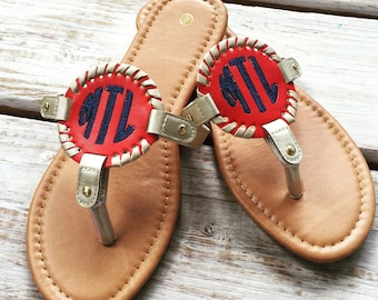 Braided Medallion Monogrammed Sandal, flip flop