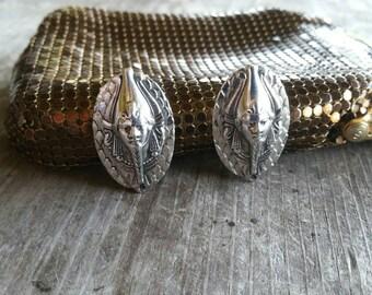 Whiting and Davis Egyptian King Tut Pharoah Clip On Earrings
