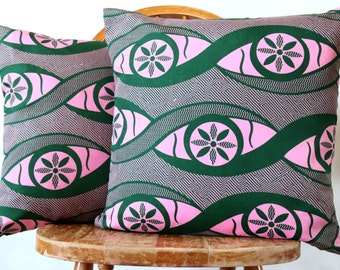Set of 2 African Pillow Covers - Throw Pillows - Decorative Pillow Cases - Cushion Covers - African Wax Print Pillows