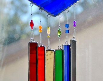 Stained Glass Wind Chimes Lapis Blue with Rainbow of Colors and Decorative Glass Beads