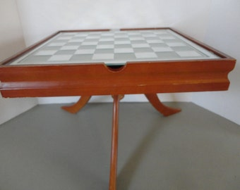 Table Top CHESS - CHECKER - TABLE - Game Table with Storage Area and Spinning Table Top