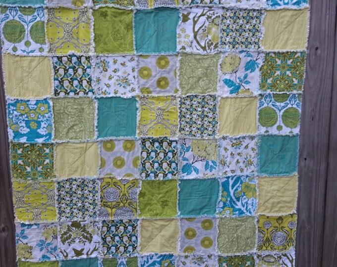 Rag Quilt Handmade - Designer Collection -  Throw Size