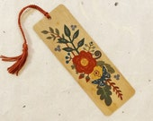 Folk Flowers Eco-Friendly Fine Art Wood Bookmark with Tassel