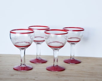Four vintage Red Champagne Glasses Coupes / Red with white stripes / lot of 4 / handmade 1940s 1950s Vintage Barware