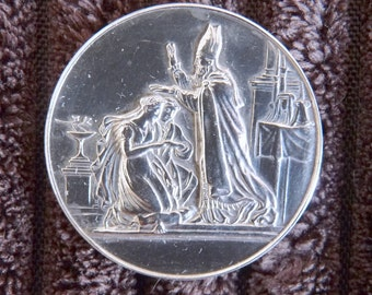Antique French Silver Wedding Medal, Solid Silver Medal, Circa 1820, Perfect Wedding, Anniversary, Silver Wedding Gift As Reverse Is Blank