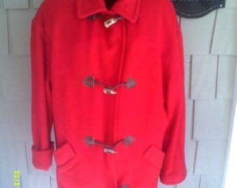 Woman's Vintage Long Red Coat, size 10, by J.G. Hook, Red Wool Coat 10, Red Winter Coat , Winter Coat 10, JG Hook Coat, Fishermans Coat 10