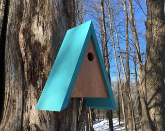 Fred Modern Birdhouse in Mahogany and Erasmus Green