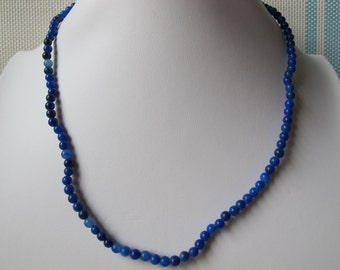 4-5mm Genuine Sodalite Round Beads 925 Sterling Silver Necklace A163