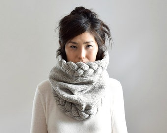 Chunky Cowl Scarf, Cable Knit Scarf, Wool Snood, Knit Accessories