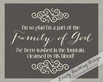 Family of God / Hymn / Song Lyrics / Wall Art Print / Family Collection / Father's Day / Reunion / Family Legacy