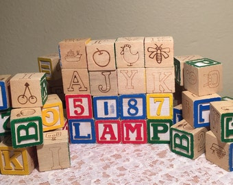 Set of 44 Wooden Play Blocks